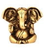 The Nodding Head Golden Brass Lord Ganesha Sitting Statue