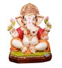 The Nodding Head Orange Polyresin Sitting Ashirwad Ganesh Statue