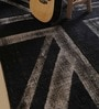 Black & Grey Woollen Abstract Hand Woven Area Rug by The Rug Republic