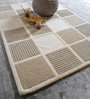 Ivory & Natural Wool Geometric Pattern Carpet by The Rug Republic