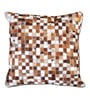 The Rug Republic Brown & White Natural Hide 18 x 18 Inch Mosaic Cushion Cover with Insert