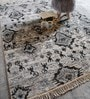 Silver Viscose Hand Knotted Abstract Pattern Carpet by The Rug Republic