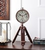 The Yellow Door Brown Brass & Wood 9 x 7 x 19 Inch Tripod Clock