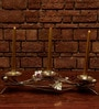The Yellow Door Gold & Silver Iron Leaf & Berries Candle Holder