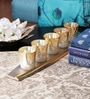 Gold Aluminium & Glass Boat Candle Votives with Holder - Set of 5 by The Yellow Door