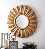 Golden MDF & Glass Sun Mirror by The Yellow Door