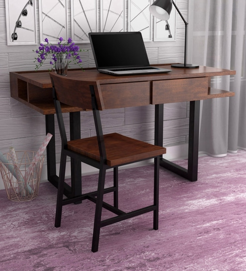 Buy Tiber Solid Wood Study Laptop Table With Chair In Premium Acacia Finish By Woodsworth Online Contemporary Study Tables Study Tables Furniture