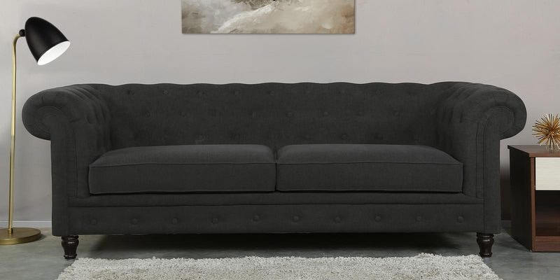 Tierra Three Seater Sofa in Charcoal Grey Colour by CasaCraft