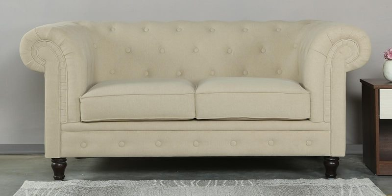 Tierra Two Seater Sofa in Beige Colour by CasaCraft