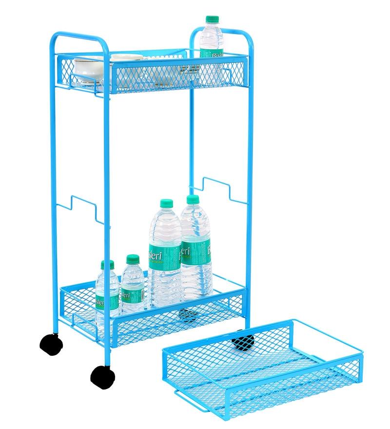 Tiara 3-Tier Compact Multi Utility Iron Blue Trolley