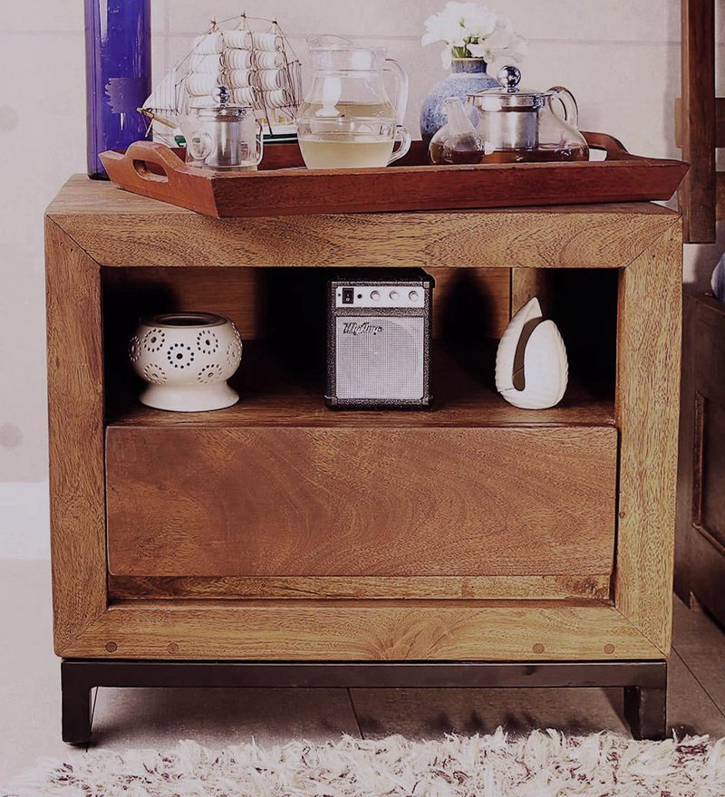 Tiber Bed Side Table in Premium Acacia Finish by Woodsworth