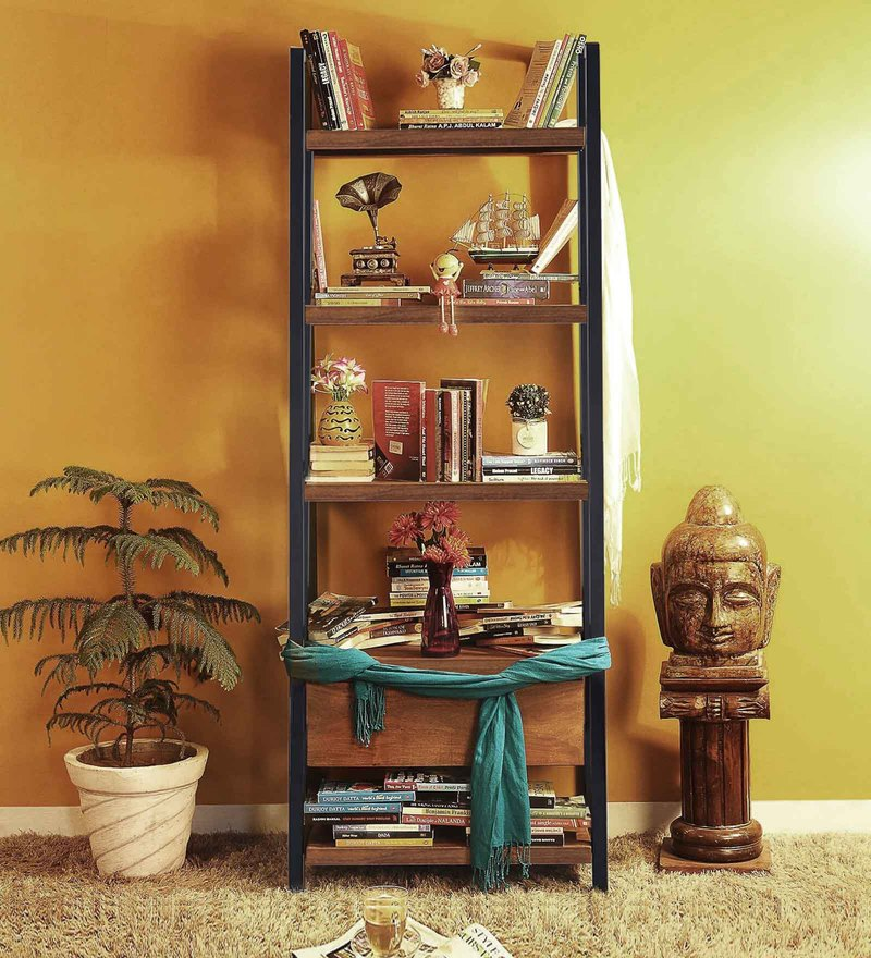 Tiber Display Unit in Premium Acacia Finish with Metal by Woodsworth