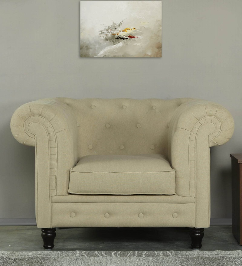 Tierra One Seater Sofa in Beige Colour by CasaCraft