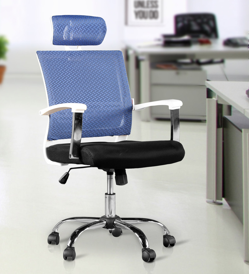 Titus High Back Chair With Headrest in Blue Colour by HomeTown