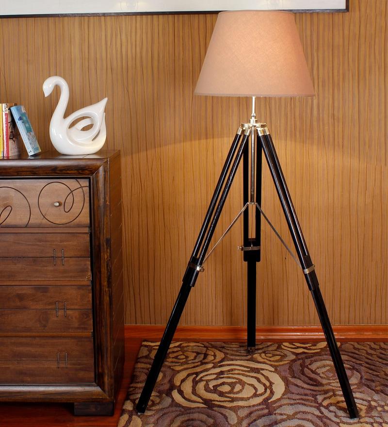 Wood & Steel Tripod Lamp by Kapoor E Illuminations