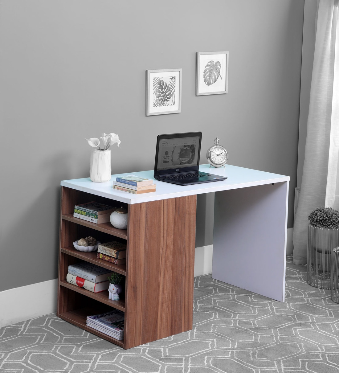 Buy Torino Study Table In White Walnut Finish By Vof Online Modern Writing Tables Tables Furniture Pepperfry Product