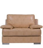 Toby One Seater Leatherette Sofa in Beige Colour