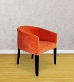Toby Tub Chair in Tangerine fabric and walnut