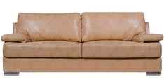 Toby Three Seater Leatherette Sofa in Beige Colour