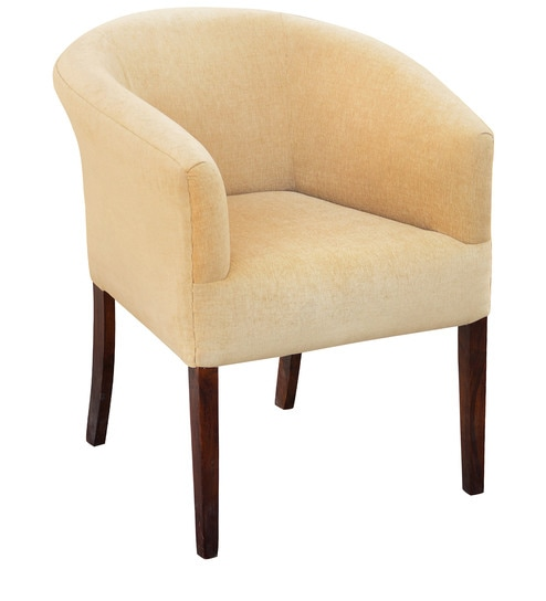 buy toby tub chair in caramel colour fabric walnut finish by