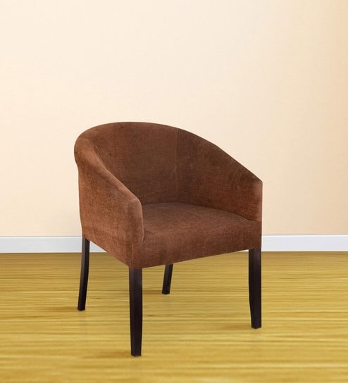 Buy Toby Tub Chair in Mocha Fabric & Walnut Finish by Inliving ...