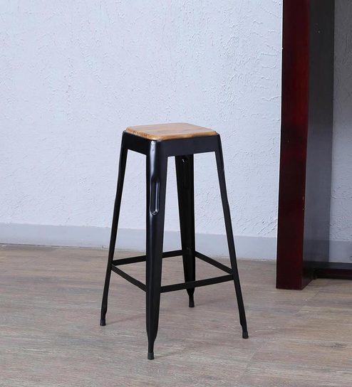 Tosh Bar Stool In Black Colour By Bohemiana