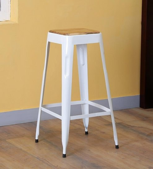 Tosh Bar Stool In White Colour By Bohemiana