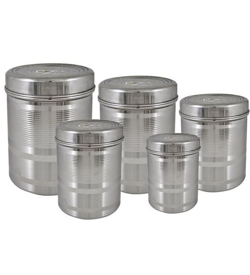 Tough Duroware Stainless Steel Deep Containers 5 Pcs Set