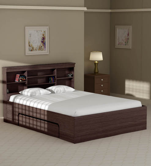 buy toya queen size bed with drawer storage in walnut finish by mintwud online modern queen. Black Bedroom Furniture Sets. Home Design Ideas