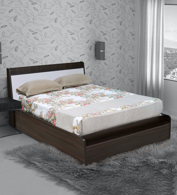 Toya Queen Size Bed With Storage In Oak, Queen Size Bed Plastic Cover