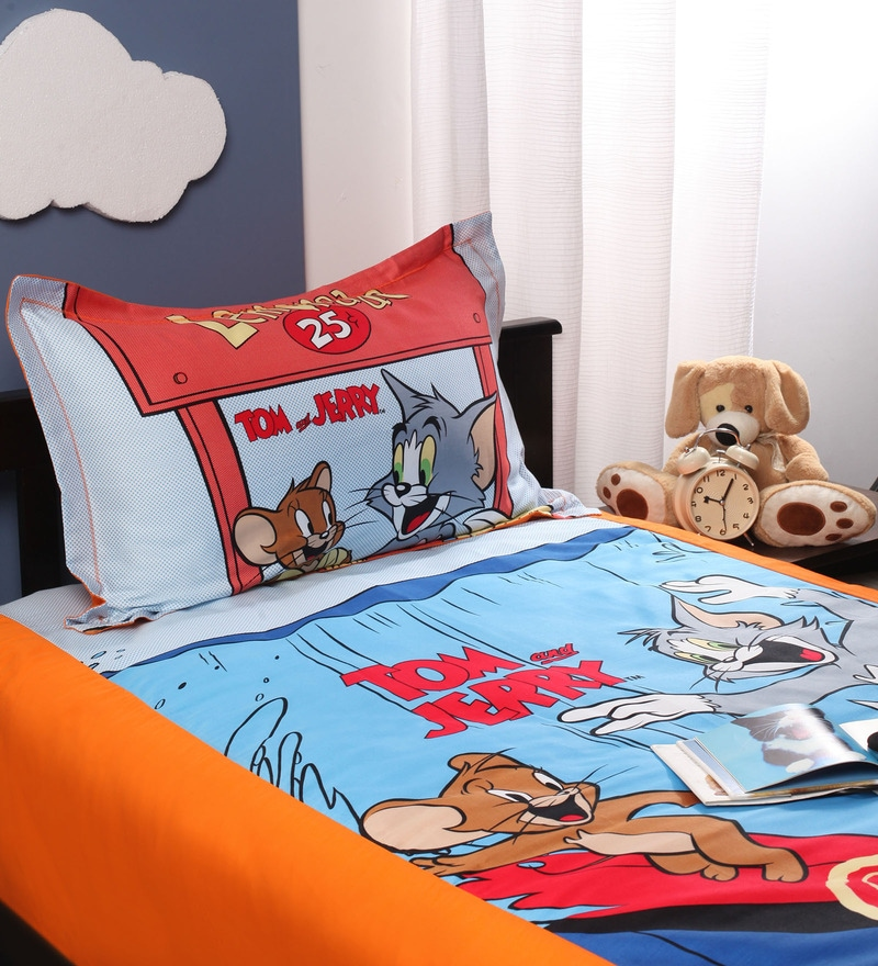 Tom & Jerry Single Bedsheet in Red Colour by Portico New York