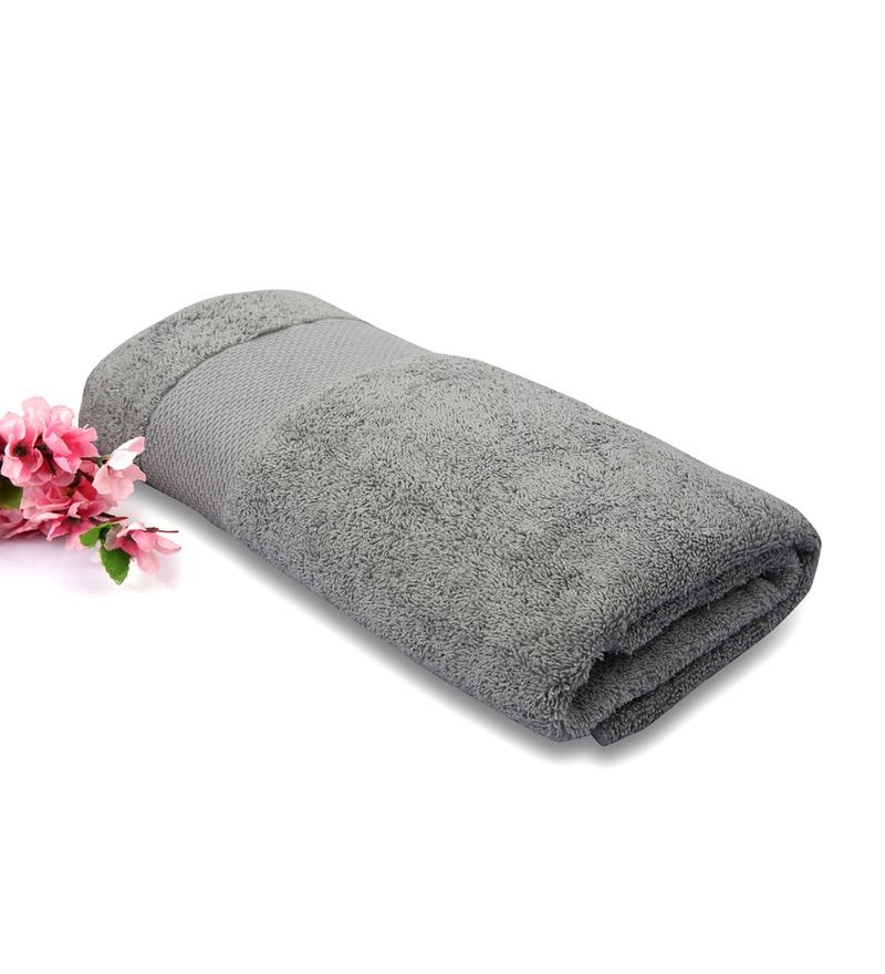 Gray Cotton Bath Towel by Tomatillo
