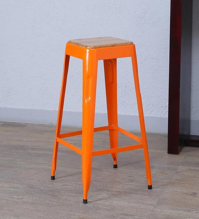 Tosh Bar Stool in Orange Colour by Bohemiana