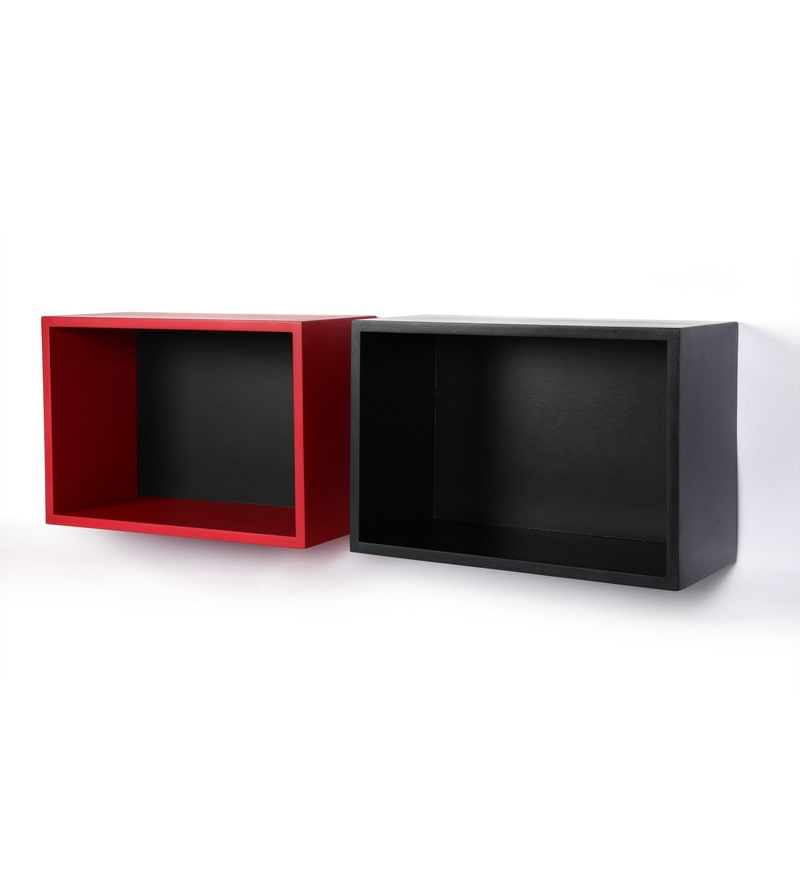 Multicolor MDF Wall Shelf - Set of 2 by AYMH