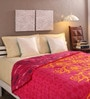 Tomatillo Pink & Yellow Cotton Queen Size Comforter