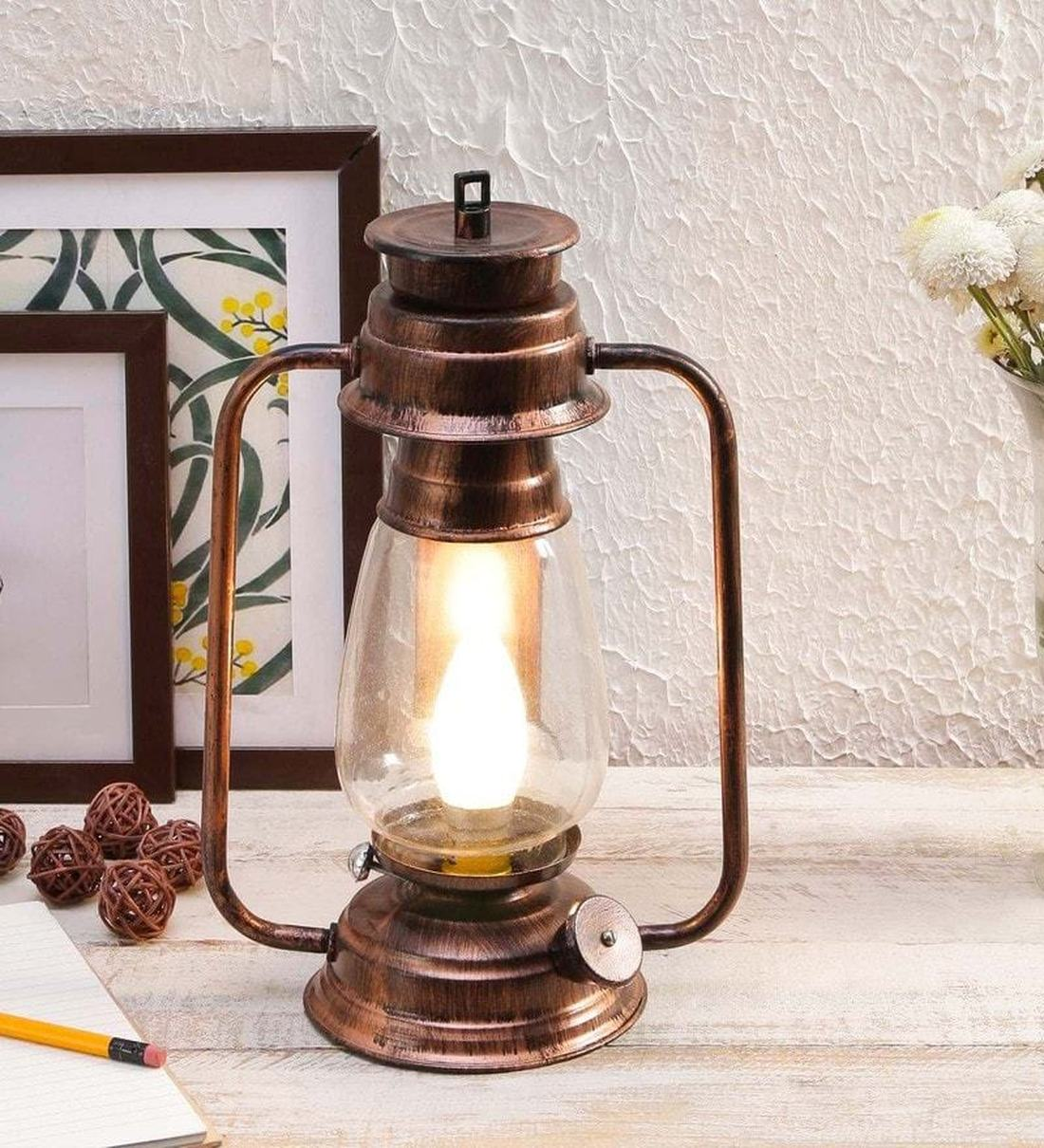 Buy Transparent Glass Shade Table Lanterns With Copper Base By Tu Casa Online Table Lanterns Lamps Lamps Lighting Pepperfry Product