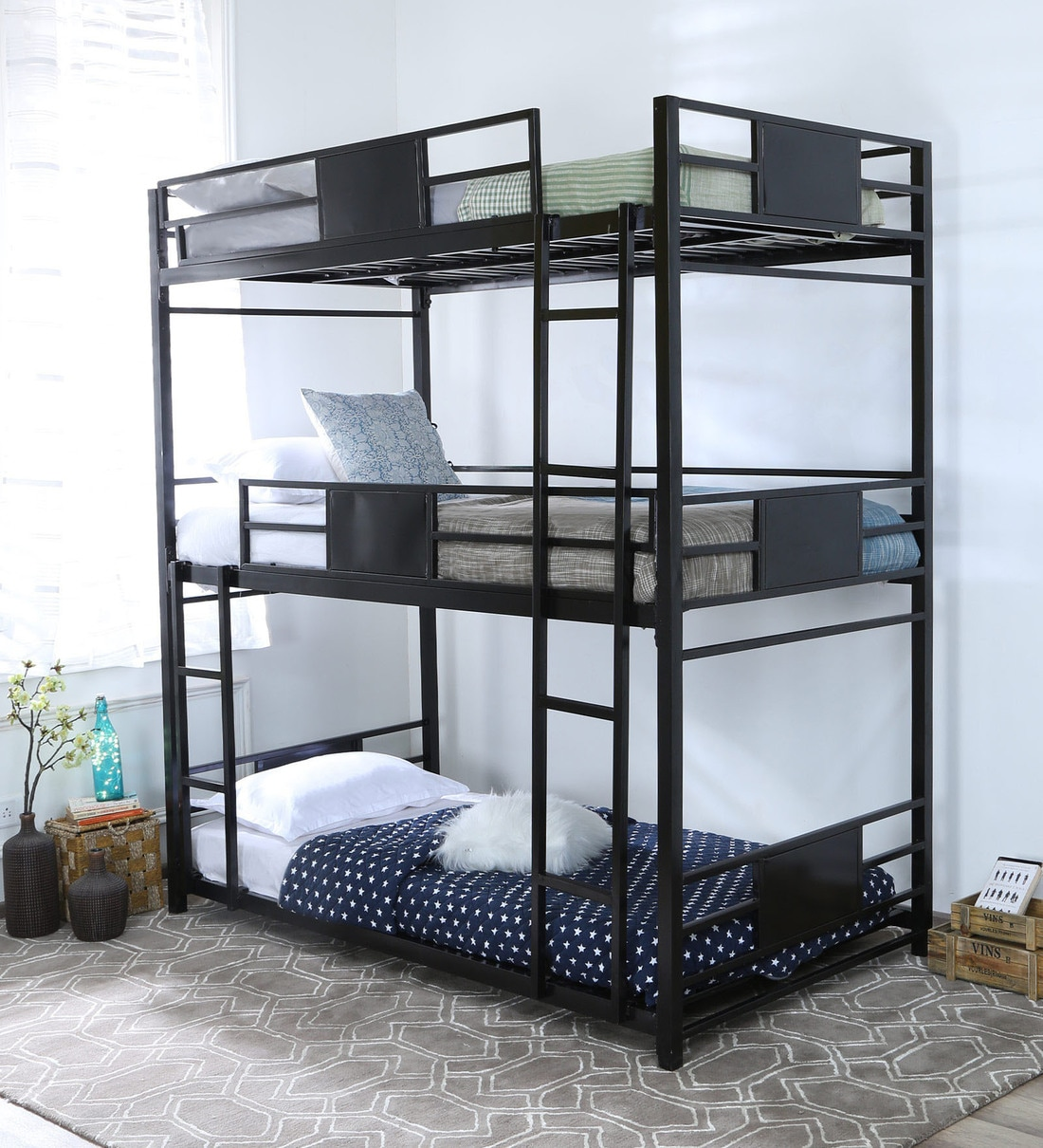 Picture of: Buy Olivia Triple Metal Bunk Bed By Steelfurn Online Standard Bunk Beds Bunk Beds Kids Furniture Pepperfry Product