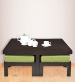 Trendy Coffee Table with Four Green Cushioned Stools