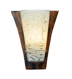 Transparent And Brown Glass And Wood Wall Light - 1657730