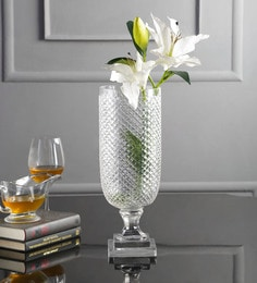 Transparent Glass U Shaped Diamond Cut Clear Vase