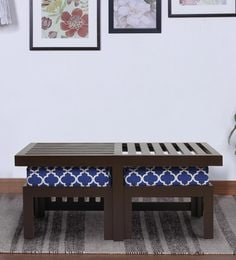 Trendy Coffee Table With Two Stools In Indigo Colour