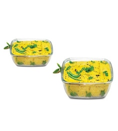 Treo Borosilicate Glass 2000 ML Square Trays With Microwavable Lid - Set Of 2