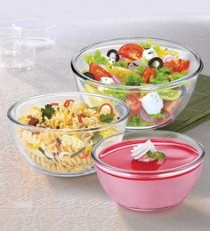 Treo Borosilicate Glass Microwave Safe Mixing Bowls - Set Of 3 - 1662571