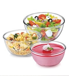 Treo Borosilicate Glass Microwave Safe Mixing Bowls - Set Of 3 - 1662552