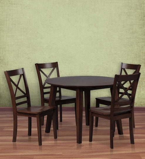 Transitional Four Seater Dining Set With Cross Back Chairs In Brown Colour  By Afydecor
