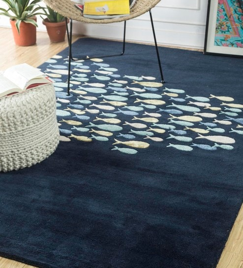 Blue Abstract Hand Tufted Wool Carpet 7 5 X 3 Feet By Jaipur Rugs