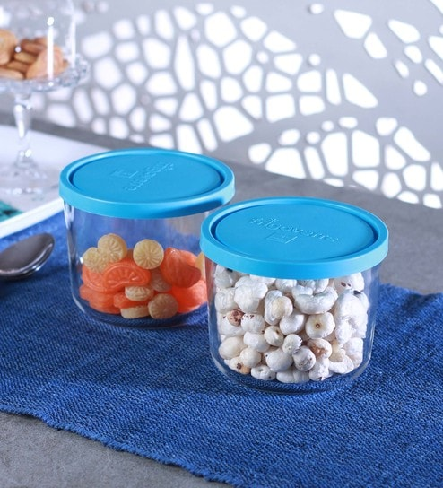 Transparent and Blue Frigoverre Tall Round 700 ML Canisters- Set of 2 by Bormioli Rocco