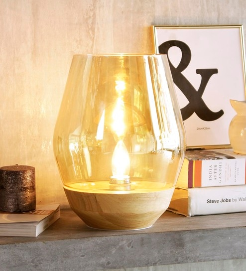 Buy Transparent Glass Bowl Table Lamp by Jainsons Emporio Online ...