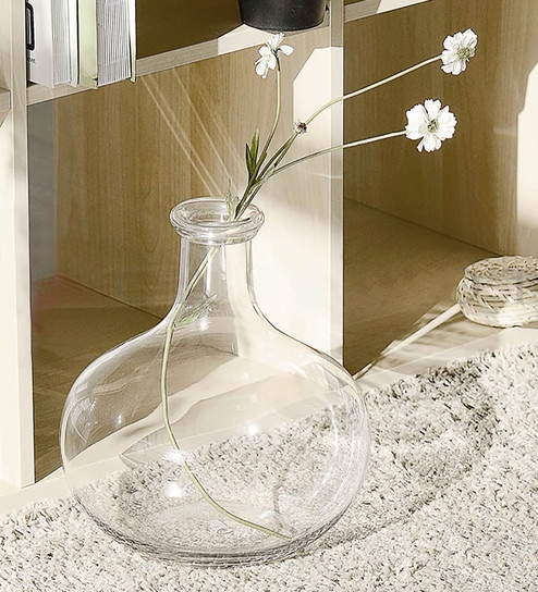 Pepperfry & Transparent Glass Pear Shape Clear Blown Modern Natural Acrylic Flower Vase By Casamotion