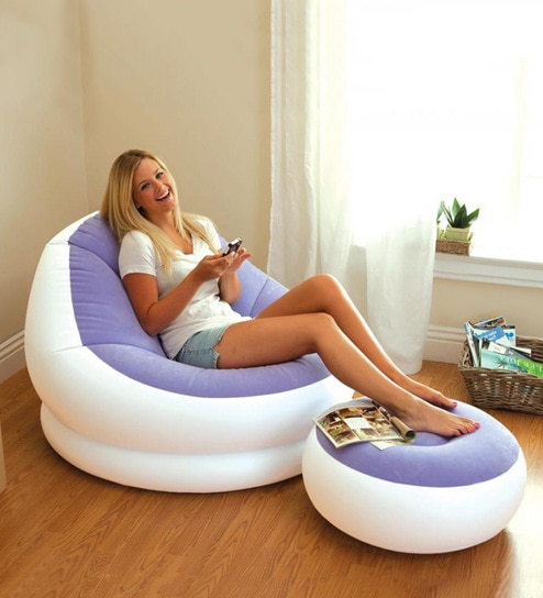 Trebon Inflatable Lounge Chair With Ottoman In Purple White Colour By Intex